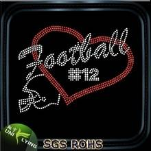 Bling football heart iron rhinestone transfer motif