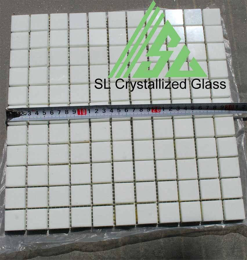 Super thassos glass square mosaic1x1 inch