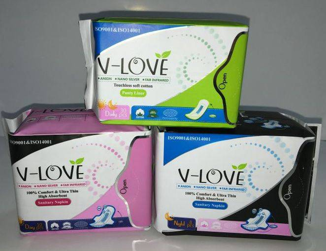 V-LOVE Nano silver anion and far infrared sanitary napkin