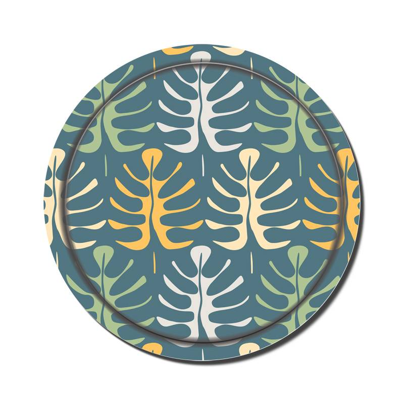 2014 Swedish Style Birch Veneer Tray-Leaves on Blue