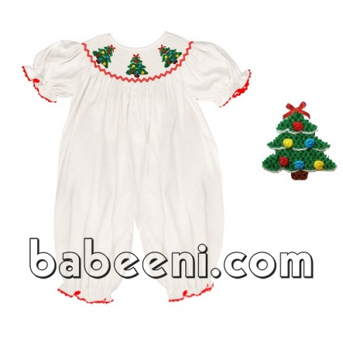Adorable X-mas tree smocked long bubble