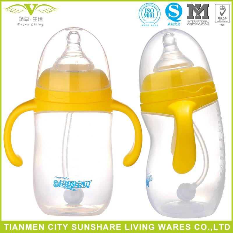 Wholesale Penguim Shape Wide-neck Food Grade PP Baby Feeding Bottles With Silicone Nipple