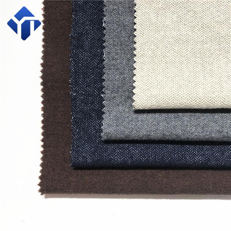 2019 new design woven herringbone wool polyester cotton clothing fabric