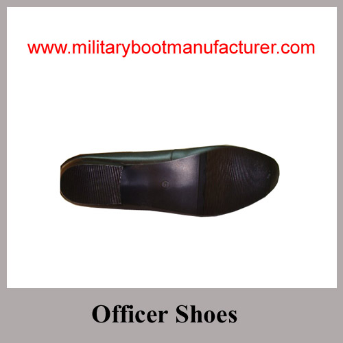 Wholesale China Made Black Full Grain Leather Lady Officer Shoes with Leather Sole