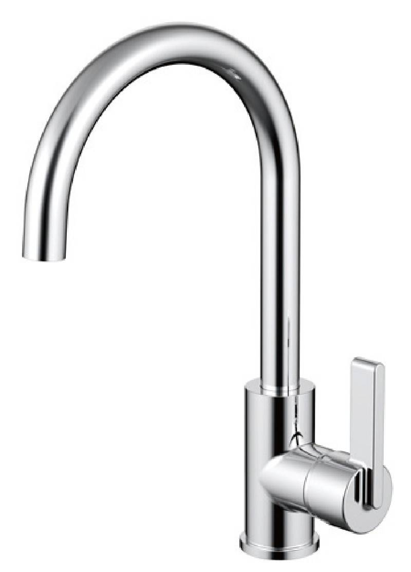 Contemporary chrome brass single hole kitchen faucet