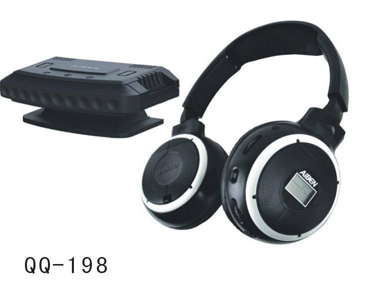 QQ198 PC& TV wireless headphone with mic /LCD display