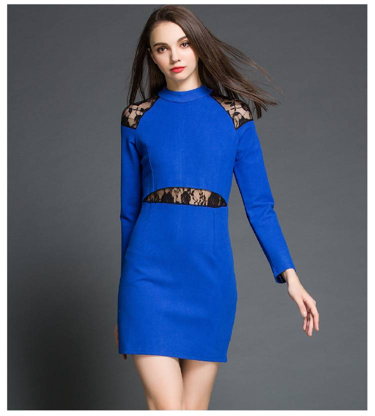 european popular hollow out spliced lace dress for ladies