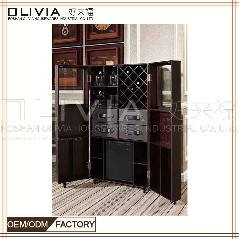 Plywood Wooden Whisky Wine Display Cabinet For Living Room