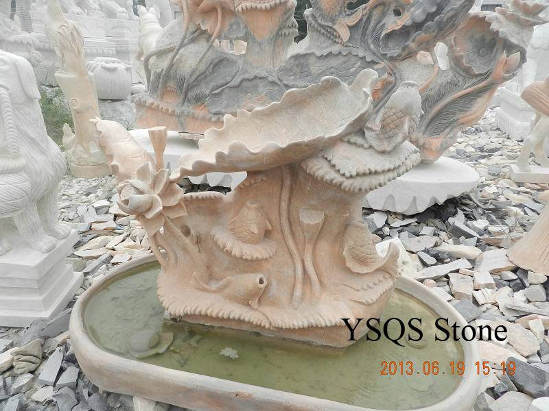Cloudy Rosa Marble Water Fountain