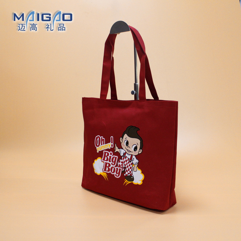 High quality red color cotton canvas tote bag