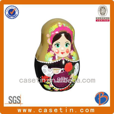 china factory customized shaped metal unique russian doll packaging tin box