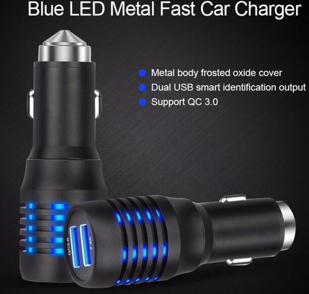 High quality safety hammer QC3.0 car charger usb quick charger