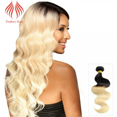 "12""-26"" OMBRE HAIR EXTENSIONS BRAZILIAN REMY HUMAN HAIR BODY WAVY TWO TONE #1B/613 100G"