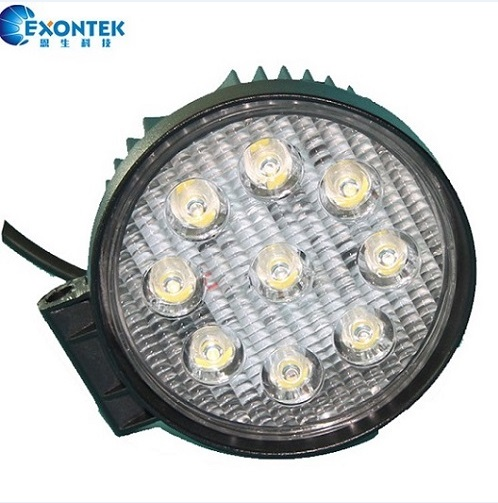 LED Work Lamp Round Headlight 27W 4WD motor Headlight for Jeep SUV Tractor agricultural machinery