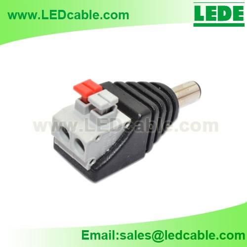 DC Plug to 2 Pin Terminal Adapter with push bottom