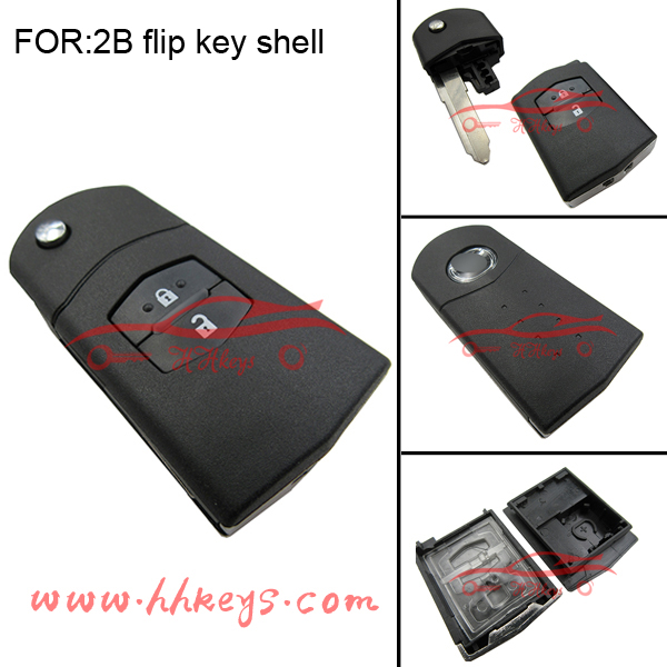 Original replacement 2 buttons flip remote key shell for Mazda key cover