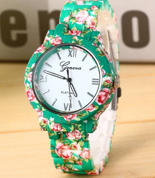 Fashion vintage printed silicone watch wrist pocket watches