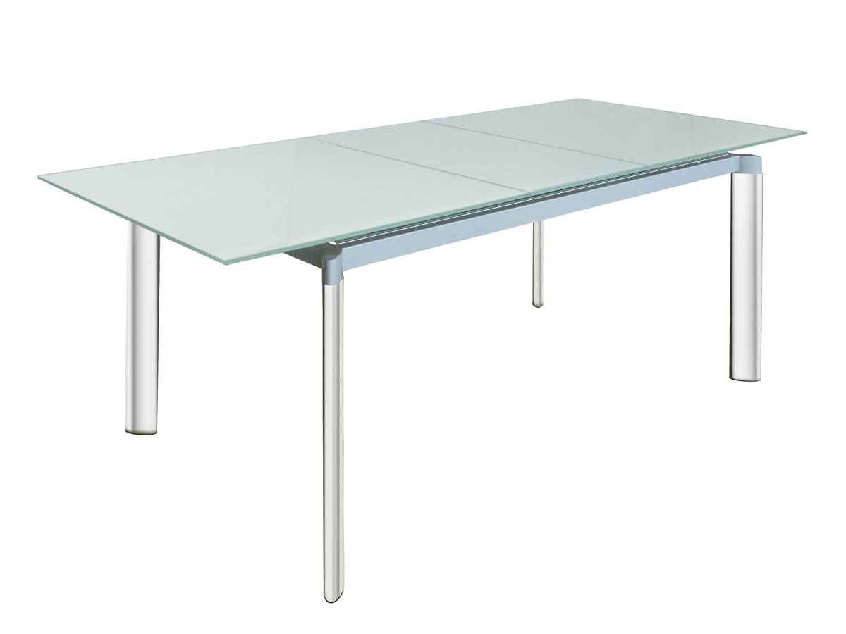 Modern Design Extensible Dining Table with Tempered Glass