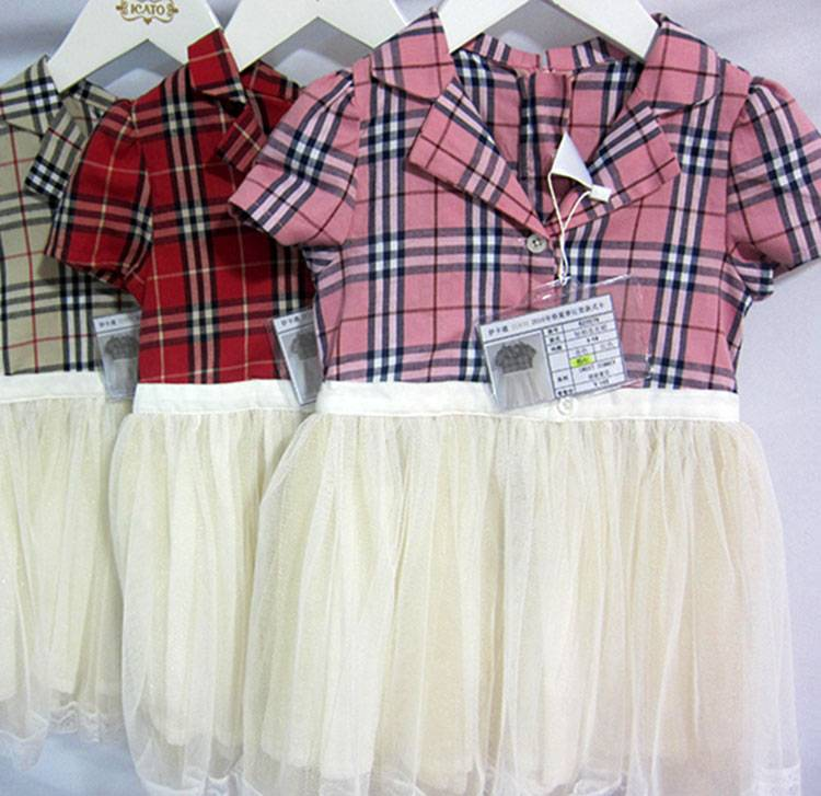 Girls Summer Buy Dresses Online Hot Selling Casual Printed Checked Junior Dresses MY330