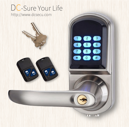 Keyless Entry Electronic Door Locks Remote Controller Code Lever Handle Door Locks Keypad Door Locks
