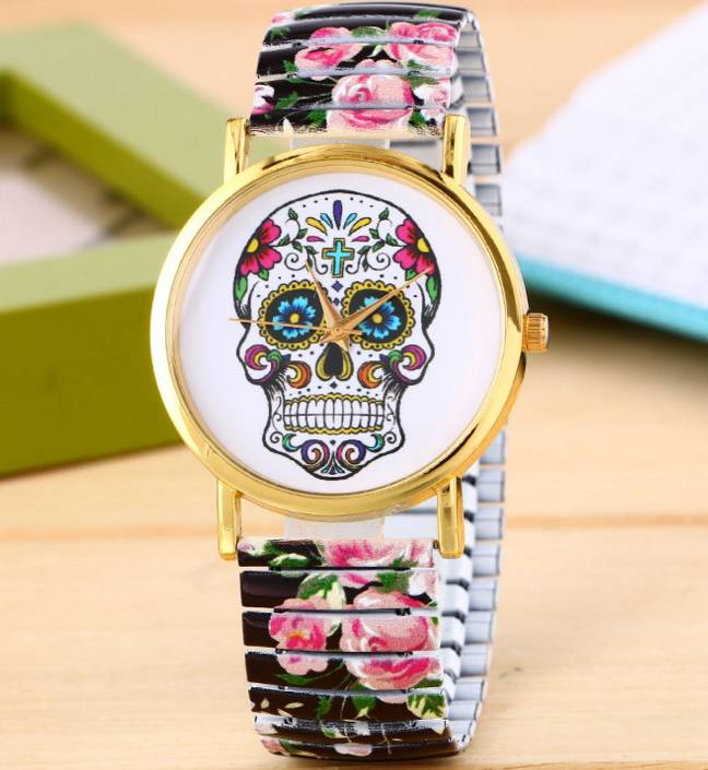 Printed vintage Rome skull design silicone watch wrist pocket watches