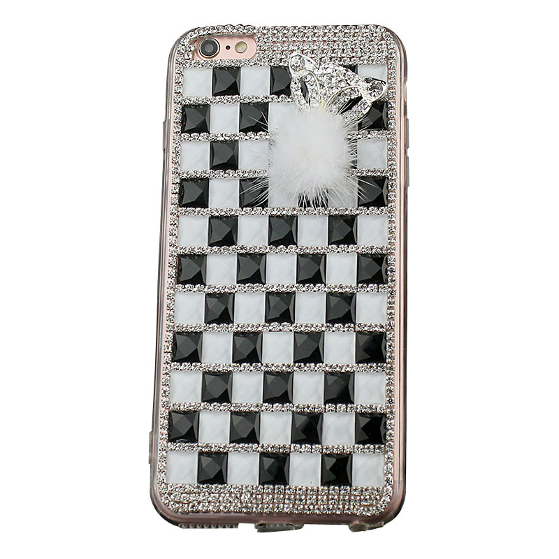 Bling Rinestone Fur Tpu Phone Case Accessories for iPhone X/8/7/6s Plus Samsung S6/S7/S8+