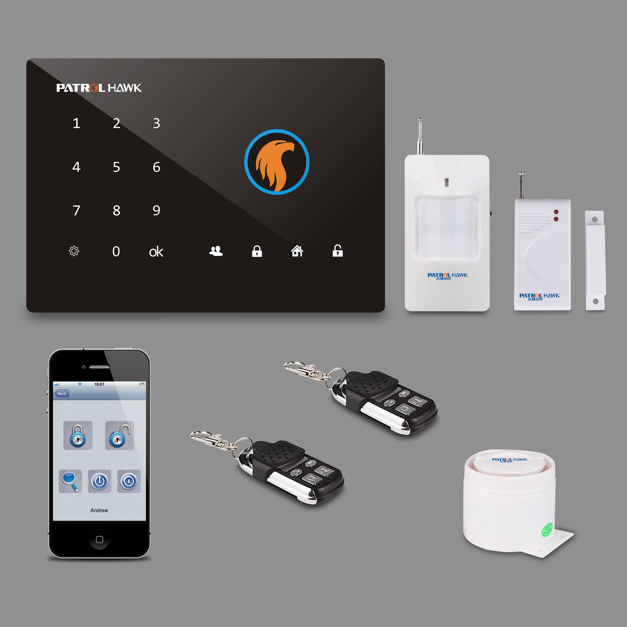 Patrol Hawk Smart Touch Keypad Home Alarm System & Andriod/ios App control, protect your home safety