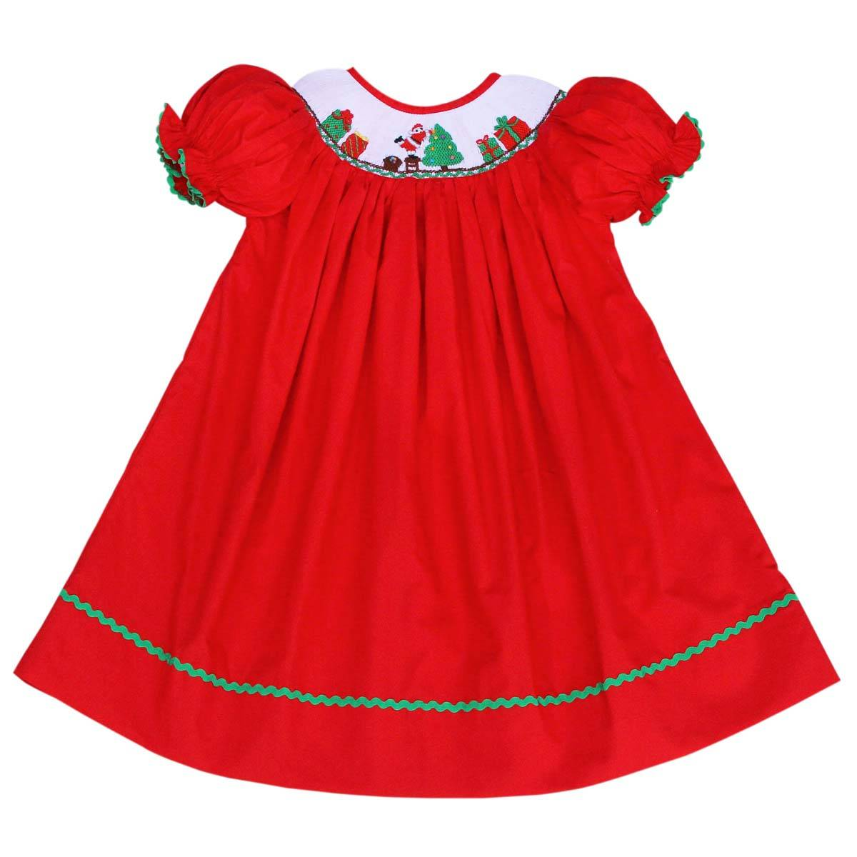 Nice gift and Santa Claus smocked bishop dress - BB458