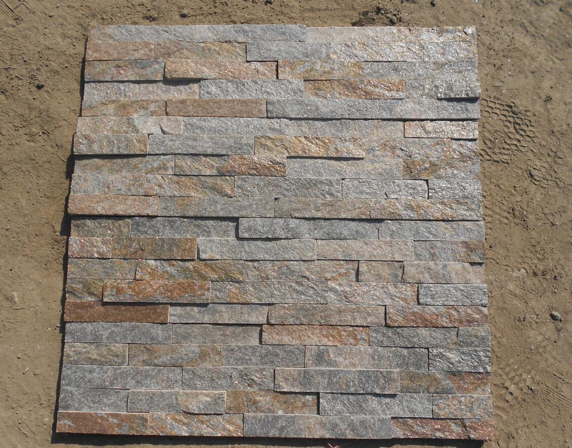 Natural Rusty quartzite cultured stone stack stone for exterior wall decorations