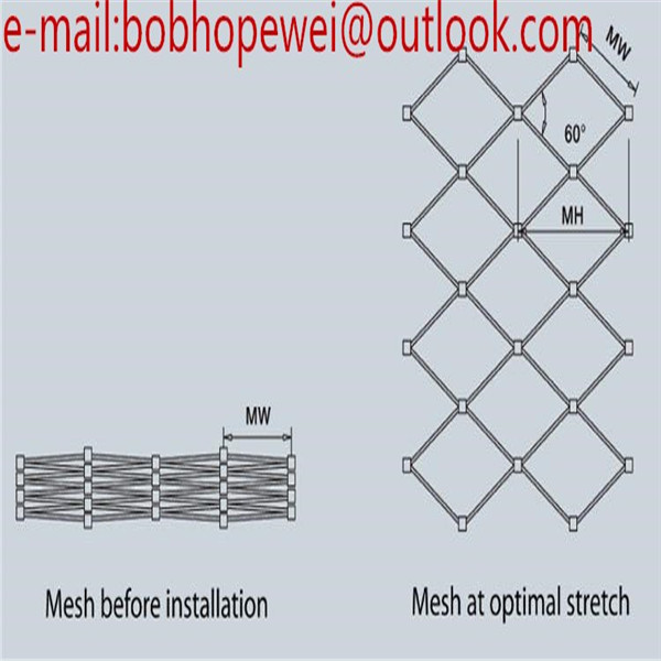 Stainless Steel Wire Rope Mesh Net/Flexible Stainless Steel Cable Mesh
