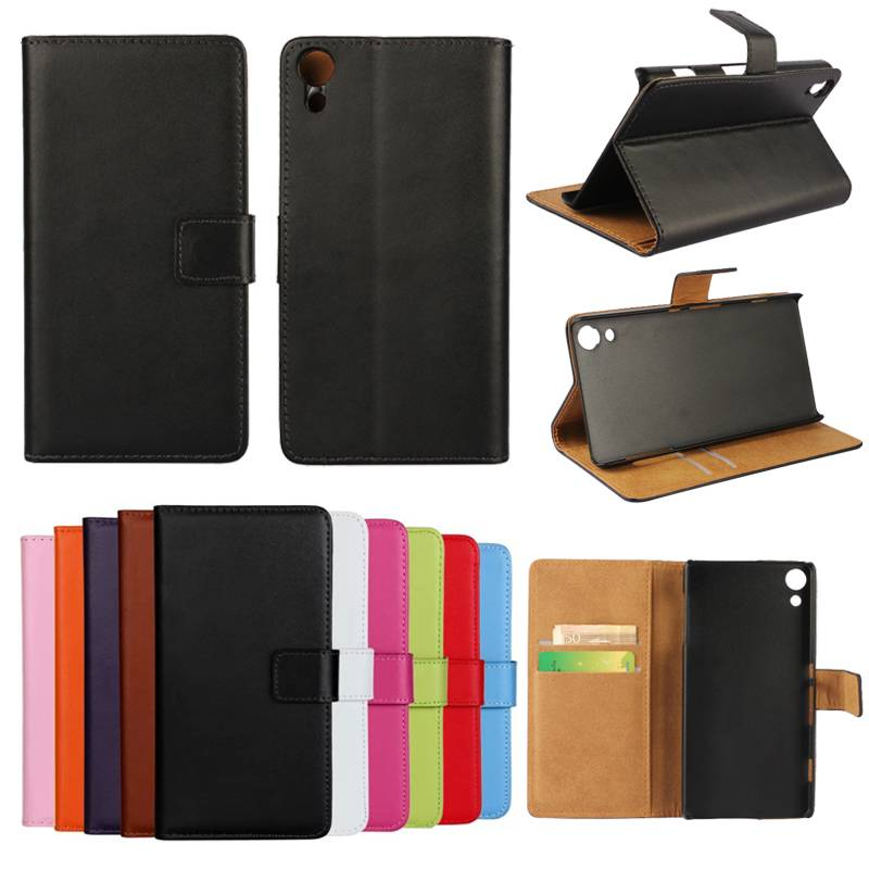 Real Genuine Wallet Leather Case Flip Stand Cover for Sony Xperia Z4 SZ4C05