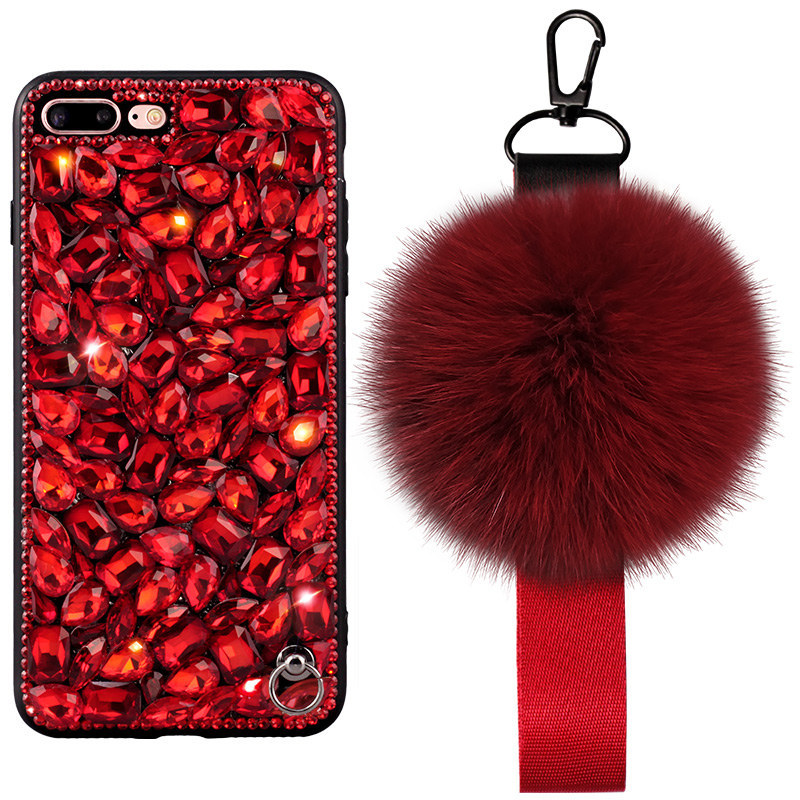 Luxury Handmade Rabbit Fur Ball Full Diamonds Soft Silicone Case for iPhone X/8/7/6s Plus Back Cover