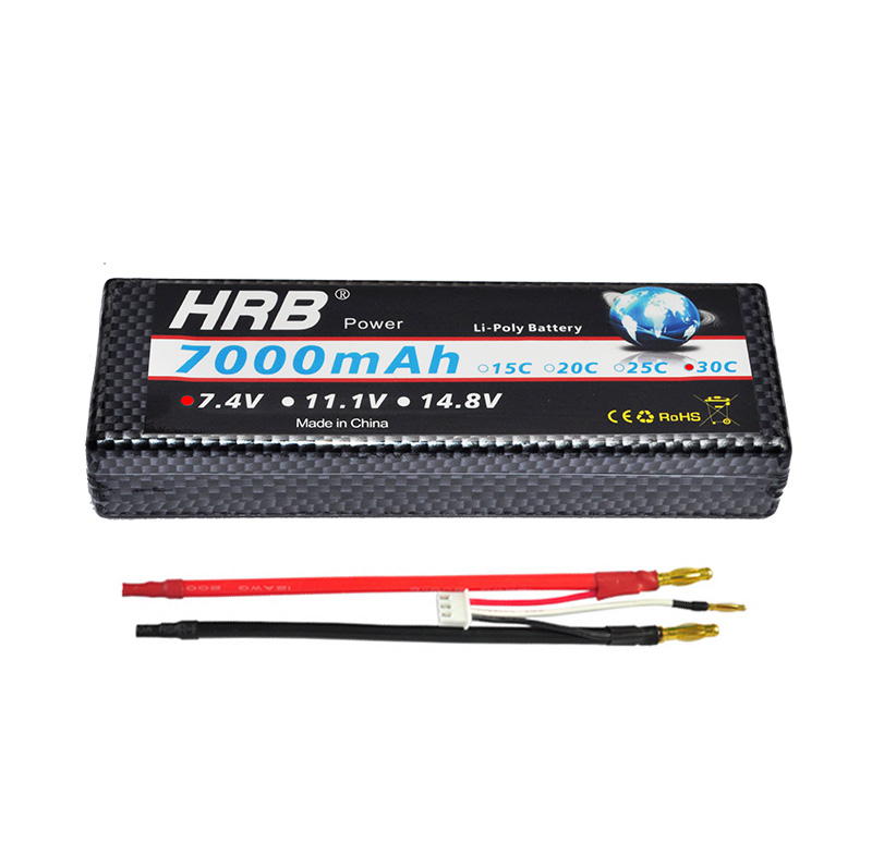HRB 7000mAh 30C Hard Case Lipo Battery 2S 7.4V 1/10 Traxxas Stampede Car Truck Banana connector
