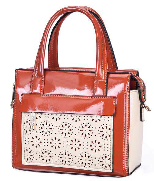 Cheap European style fashion elegant big compartment flower pattern office lady leather handbag