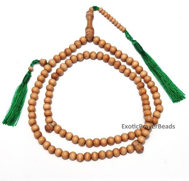 Sandalwood Exotic Tasbih (Prayer Beads) With Green Tassels