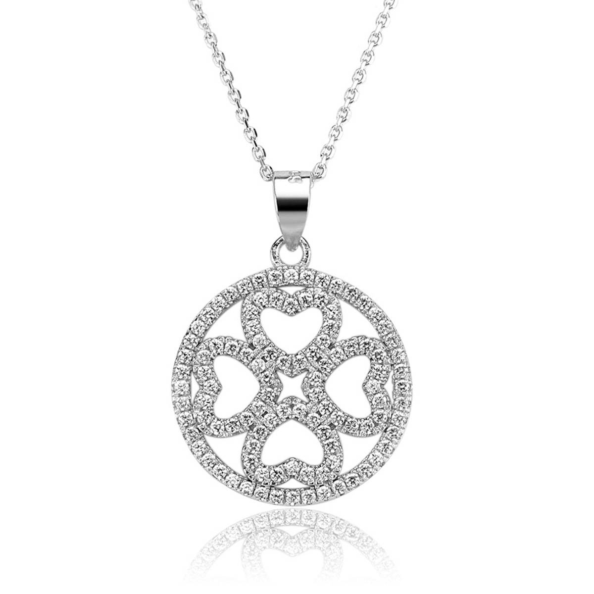 2017 Micro Setting Jewelry Necklace Four Leaf Clover Necklace with AAA Cubic Zircon 925 Silver Neckl