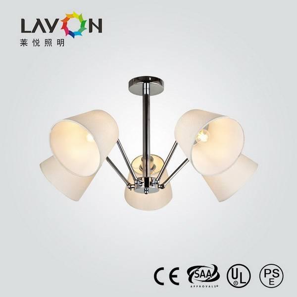 modern chandeliers lighitng with white fabric shade