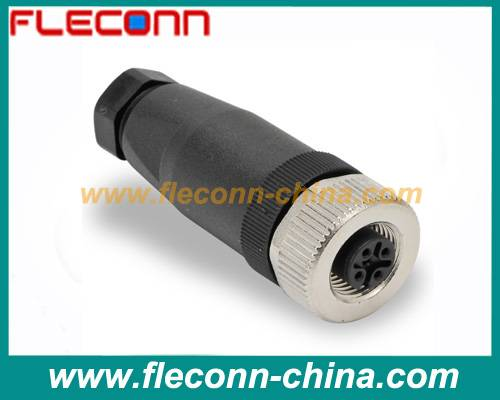 M12 field wireable connector screw terminal plastic shell female