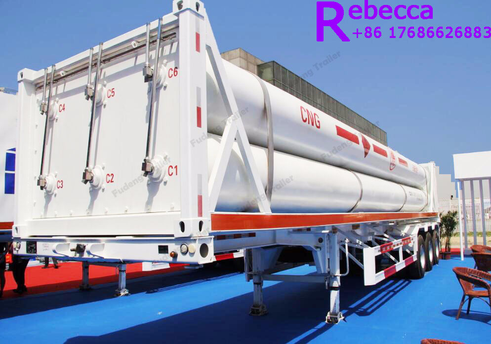 Hot selling 8 tubes skid cng trailer / hydrogen tube trailer / cng transport trailer in China
