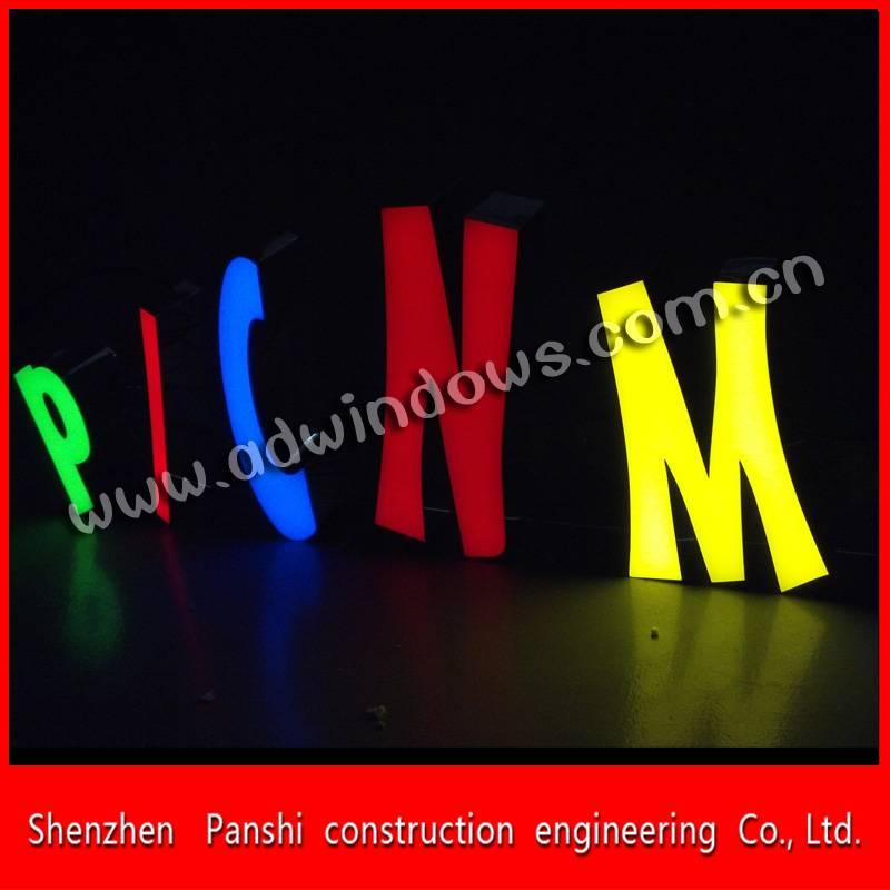 Metal frame colorful frontlit led resin letter sign