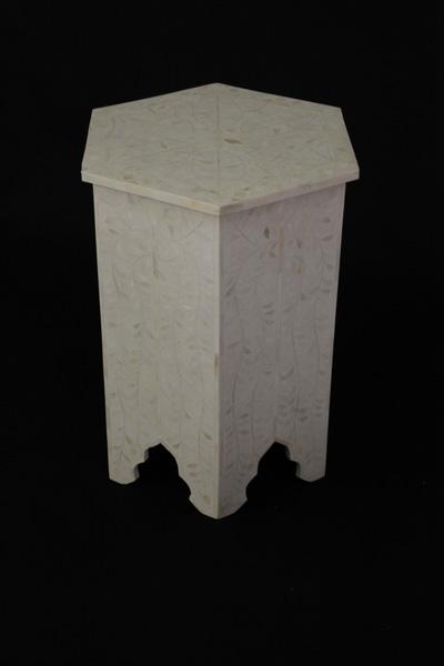 Bone Inlay Hexagonal Stool