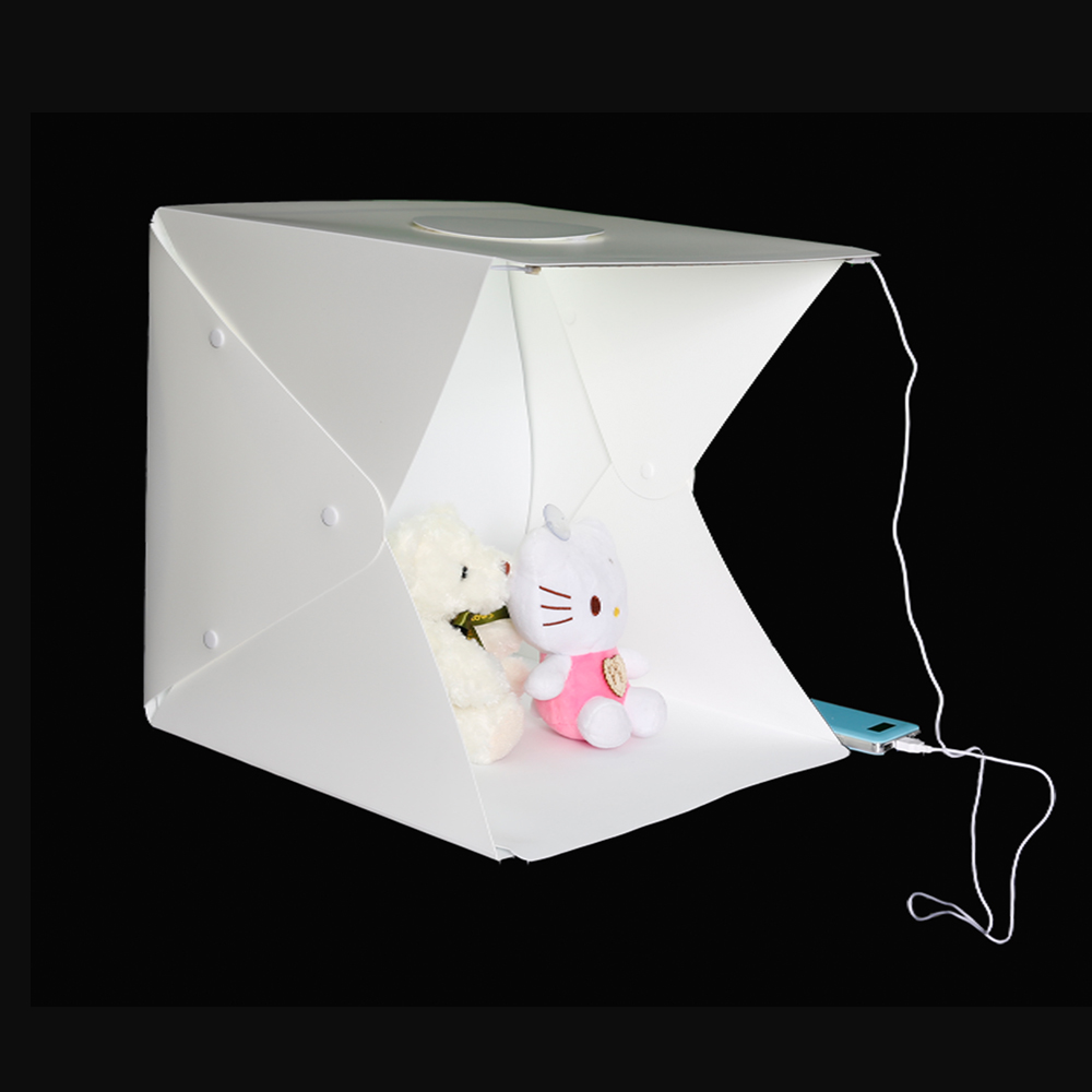 Foldable LED Light Tent+ Two Blackgrounds Portable Photography Studio Light Tent Lightroom with LED