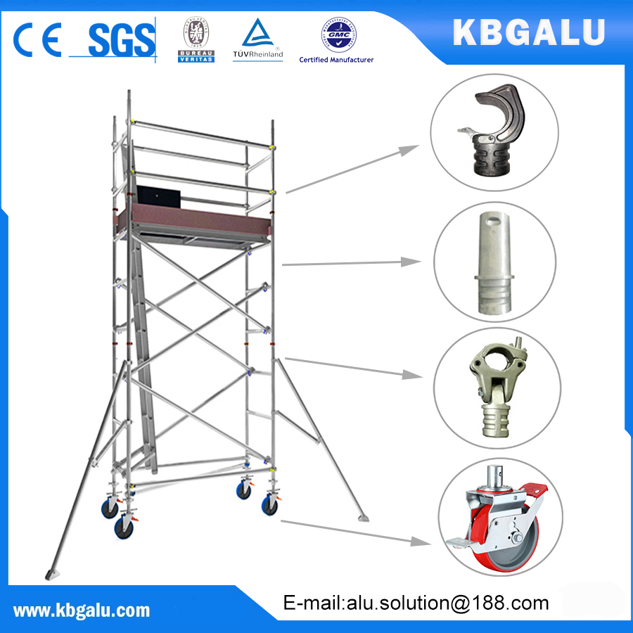 single width aluminum scaffold tower with 3.0m standing height