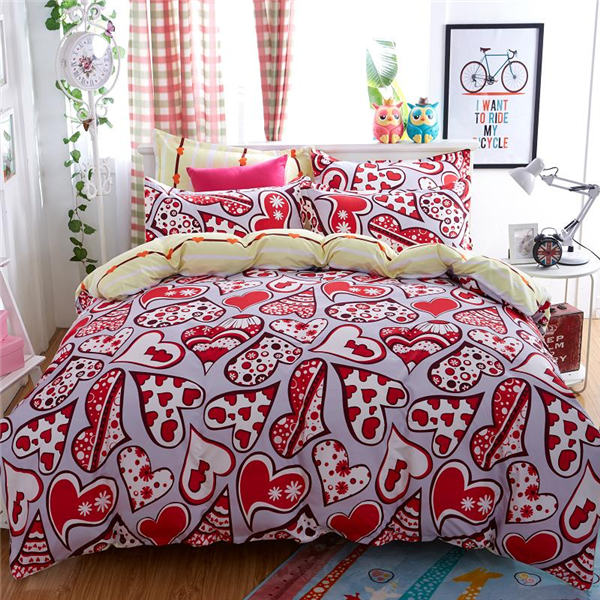 polyester hotel bed cover flat sheet/duvet/pillowcase printed duvet covers set