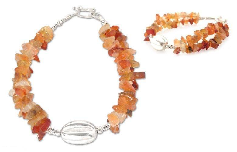Agate and 950 Sterling Silver bracelet