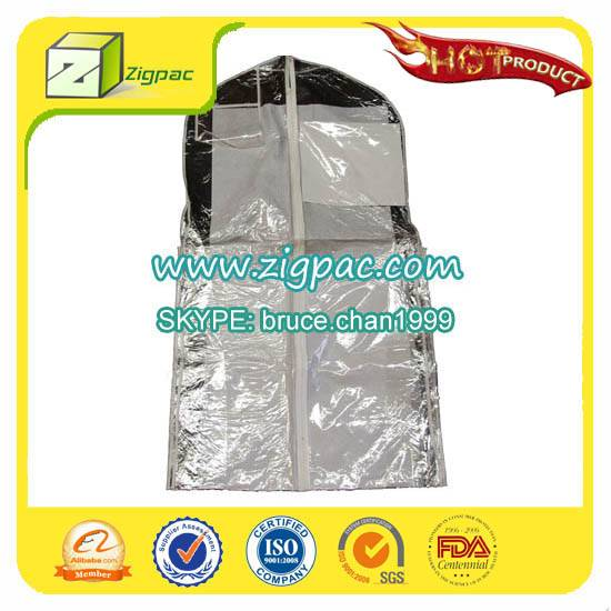 Widely empolyed in apparel industry and PDA certificate approved clear foldable zipper garment bag