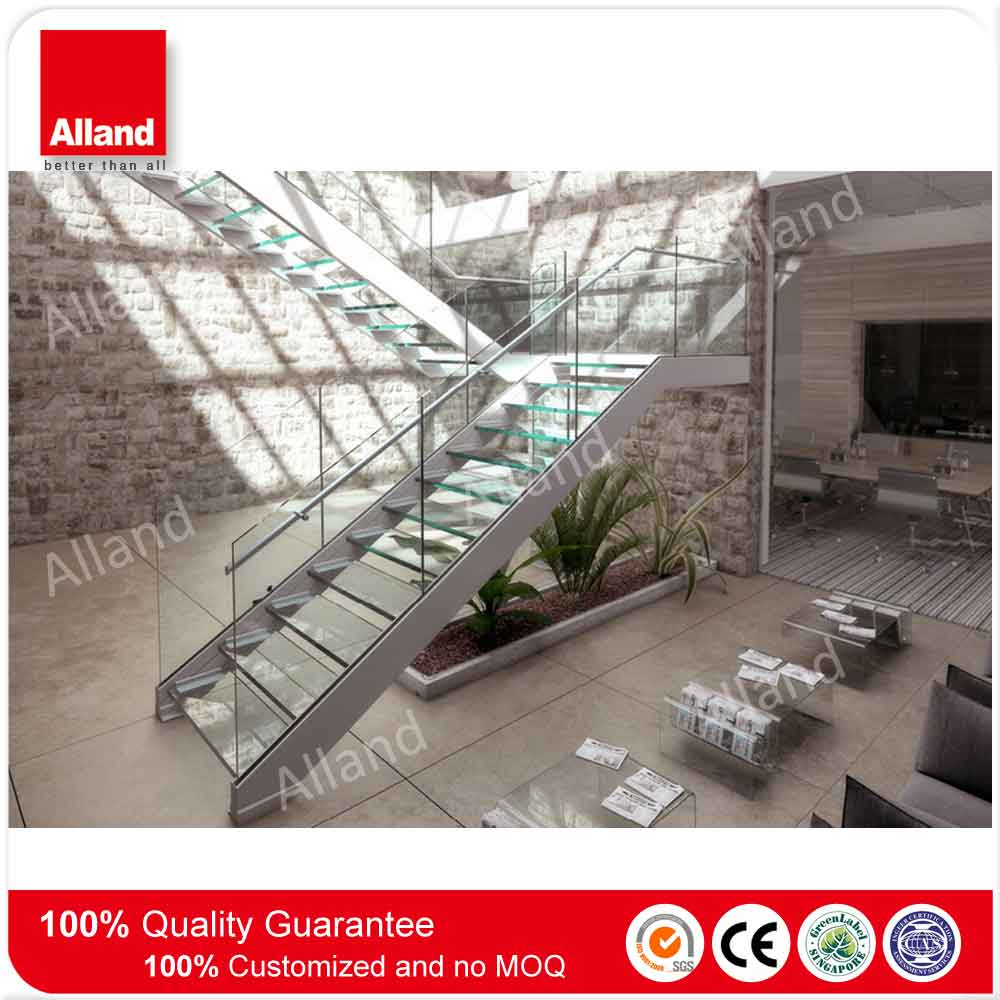 Modern glass stainless steel stair case used in interior