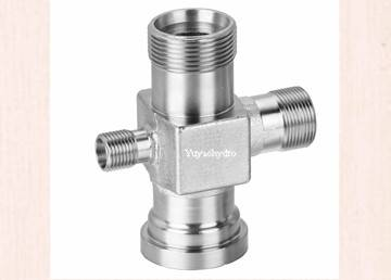 Special forged cross fittings flange connection bite type tube connection