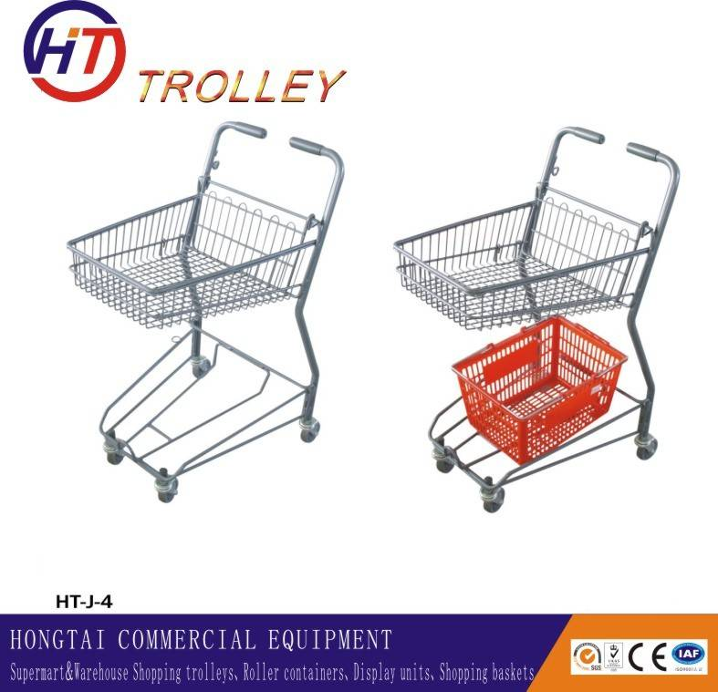 Hand Push Wheeled Supermarket Double Shopping Basket Cart with Casters