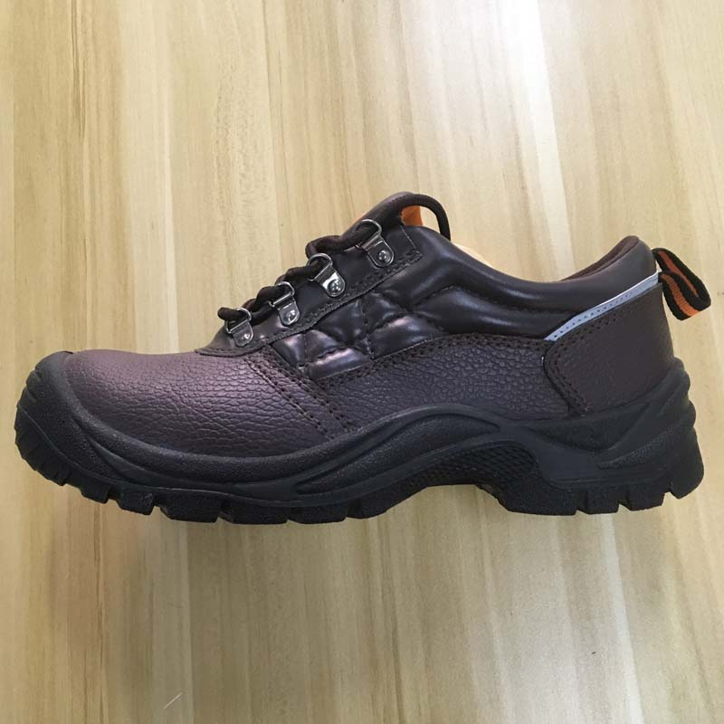 middle cut black leather upper lace up safety shoes with steel toe